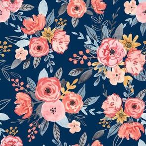 Vintage Watercolor Florals on Blue