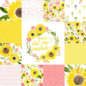 You are My Sunshine Sunflower Fields - Square Quilt - Smaller
