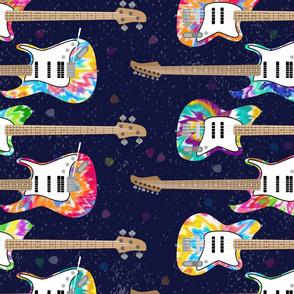 Tie Dye Guitars (large scale) by ArtfulFreddy