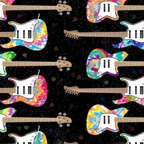Tie Dye Guitars on Black (large scale) by ArtfulFreddy