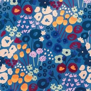 Modern Retro Floral Blue