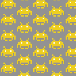 Yellow Space Invaders on Gray