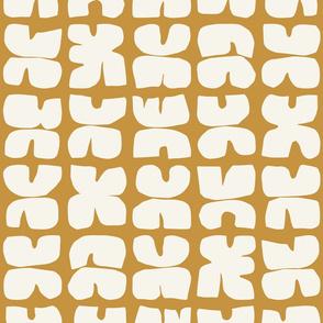 Xpot Block Print, yellow ochre and cream