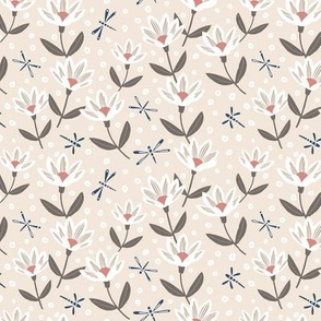 Beige and Navy Dragonflies and Flowers