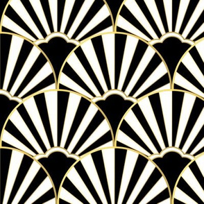 Art deco scallop in black, white and gold