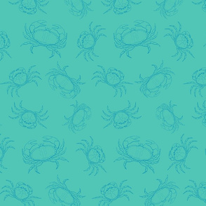 Sea Crabs in Two Tone Teal Blue