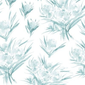 Soft blue peonies for princess ★ watercolor tonal florals for modern home decor, bedding, nursery