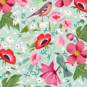 birds anemones garden mint