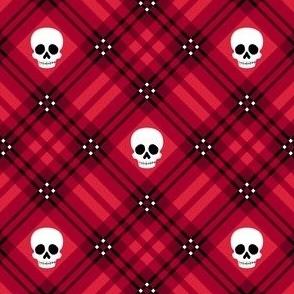 Skull Tartan Plaid in Red 1/2 Size