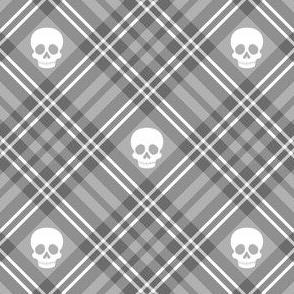 Skull Tartan Plaid in Light Grey 1/2 Size