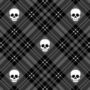 Skull Tartan Plaid in Black 1/2 Size