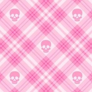 Skull Tartan Plaid in Pink 1/2 Size