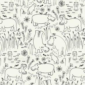 colour me hippo safari pen drawing / medium scale