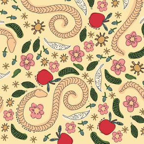 Whimsical Snakes Yellow