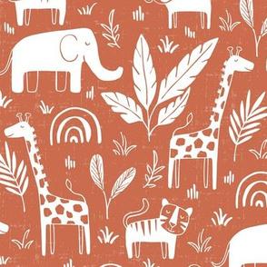 Sleepy Safari - Nursery Animals Terra Cotta Red Regular Scale