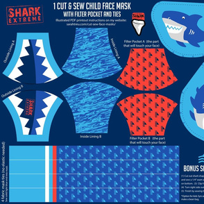 Child Face Mask Cut-&-Sew - Shark