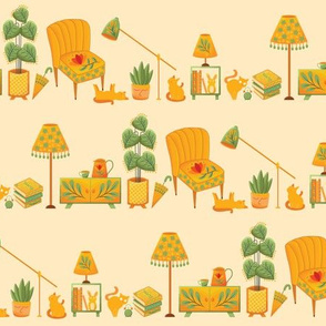 Sunny Bright Interior Furniture, Yellow Orange House Cats, Kittens and Plants