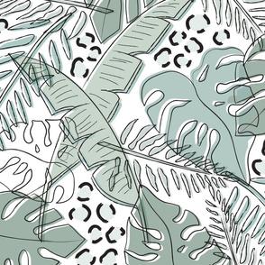 Jungle Greenery/Animal Print Jumbo