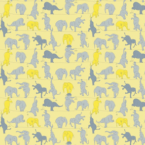 Yellow and Grey Elephants on a Tightrope