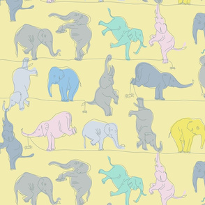 Light Yellow Elephants on a tightrope