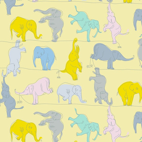Bright Yellow Elephants on a Tightrope