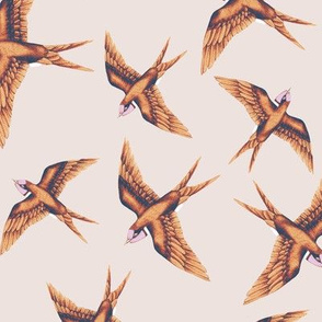 Swooping Swallows Copper on Peach