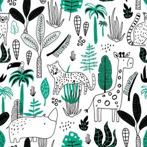 Line drawn jungle friends