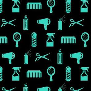 Salon & Barber Hairdresser Pattern in Teal Green with Black Background