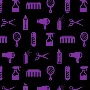 Salon & Barber Hairdresser Pattern in Purple with Black Background