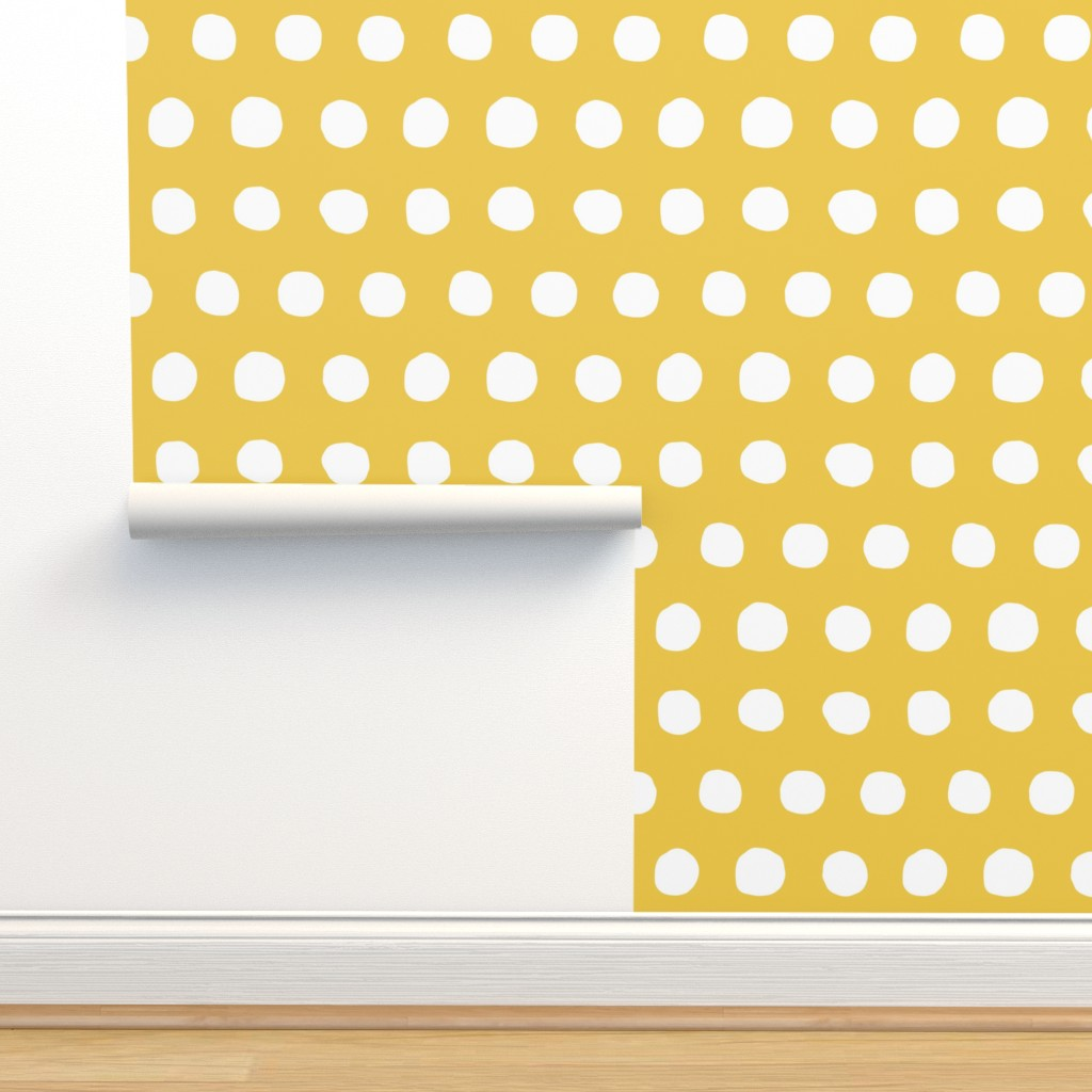 Isobar Durable Wallpaper featuring Jumbo Dots in flax/natural by domesticate