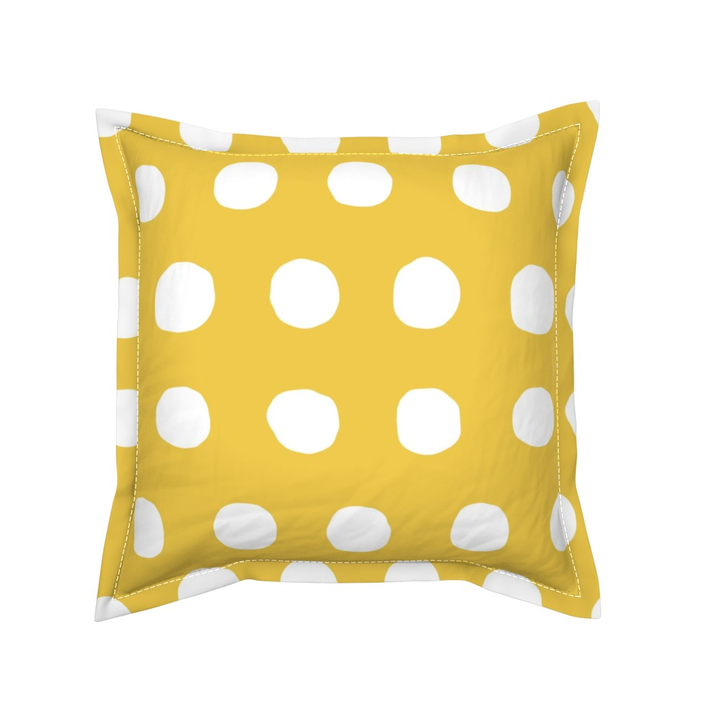 Serama Throw Pillow featuring Jumbo Dots in flax/natural by domesticate