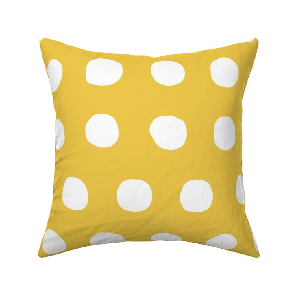 Catalan Throw Pillow featuring Jumbo Dots in flax/natural by domesticate