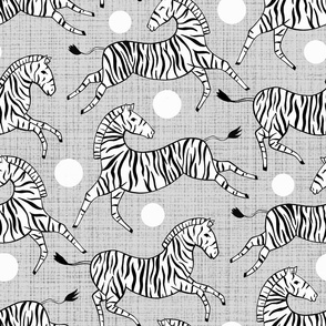 Zebras on Grey (Large Version)