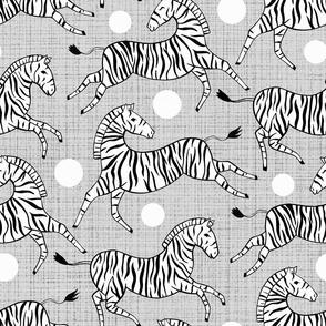 Zebras on Grey (Large Version)