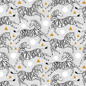 Zebras - Mustard & Grey (Small Version)