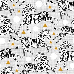 Zebras - Mustard & Grey (Large Version)