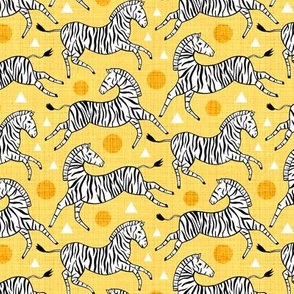 Zebras - Sunny Yellow (Small Version)