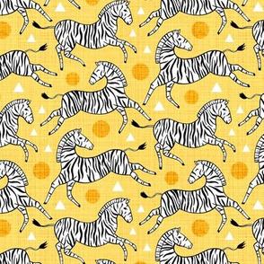 Zebras - Sunny Yellow (Small Version)