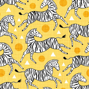 Zebras - Sunny Yellow (Large Version)