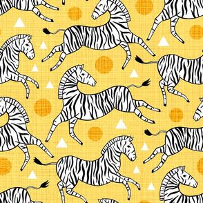 Zebras - Sunny Yellow (Large Version)