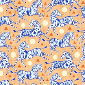 Zebras - Coral & Cobalt (Small Version)
