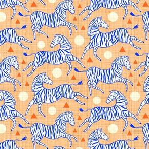 Zebras - Coral & Cobalt (Small Version)