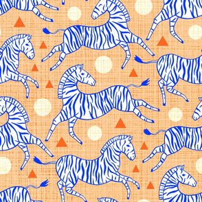 Zebras - Coral & Cobalt (Large Version)