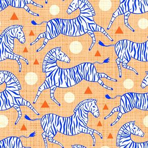 Zebras - Coral & Cobalt (Large Version)
