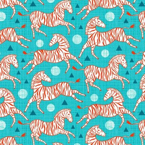 Zebras - Red & Teal (Small Version)