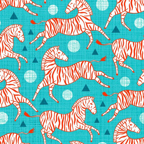 Zebras - Red & Teal (Large Version)