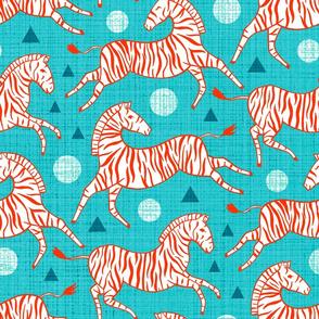 Zebras - Red & Teal (Large Version)