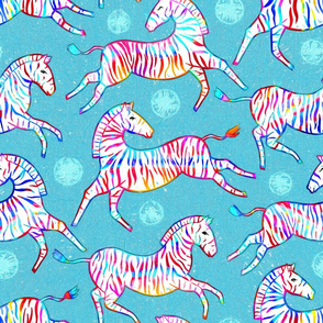 Radiant Rainbow Zebras (Large Version)