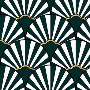 Art deco green scallop fan with gold
