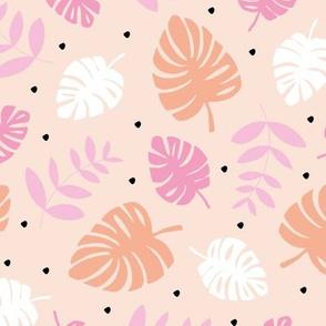 Little lush leaves jungle garden summer island boho hawaii nursery print neutral latte soft pink coral girls